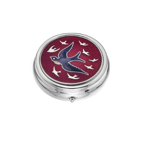 Large Pill Box Silver Plated Swallow Swallows in Flight Red Brand New & Boxed